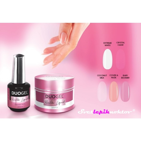DUOGEL Builder Liquid LED/UV Builder Gel, Crystal Clear, 15 ml - gradilni gel v steklenički s čopičem