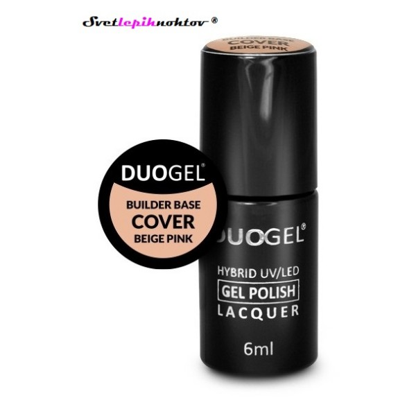 DUOGEL LED/UV-Builder Base Cover Beige Pink, 6 ml, osnovni lak za trajno lakiranje nohtov